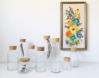 Vintage Glass Cylinder Apothecary Jars with Cork Lid + Multiple Sizes Available + Minimal Kitchen Bath Storage Canisters