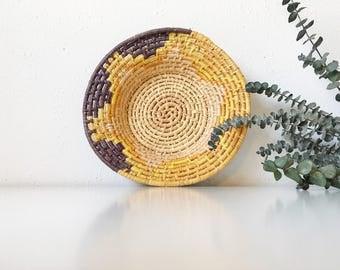 Vintage Handwoven Coil Basket Bowl + Purple Gold Yellow + Southwest Tribal Boho Bohemian Jungalow + Naturally Modern + Basket Wall Decor