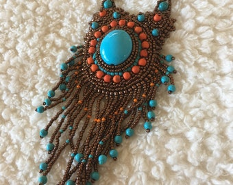 Bead embroidery necklace. Copper Bead embroidery necklace.  Turquoise, copper, orange bead embroidery necklace. With fringe. Statement piece