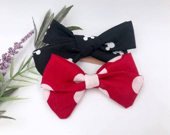 Baby Girl hand tied & sailor Bow - Nylon Headbands - Hair clips - Infant / Toddler /  Fabric Hair Bows - disney - mickey / Minnie Mouse