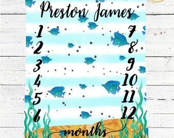 Monthly Milestone Blanket / Fish Baby Bedding / Under The Sea Baby Blanket / Fish Baby Blanket Boy / Fish Baby Shower / Fish Nursery Decor