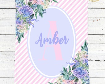Monogram Baby Blanket Girl / Baby Blanket Personalized Girl / Striped Baby Blanket / Floral Minky Baby Blanket / Pink And Blue Baby Bedding