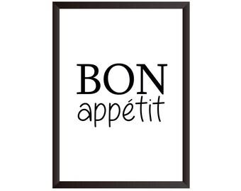 Bon Appetit Wall Print - Wall Art, Home Decor, Kitchen Print, Dancing Print