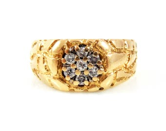 14K Nugget Ring with Diamonds - X4207