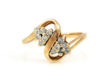 10K Gold & Diamond Swirl Ring - X4159