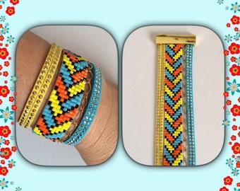Bracelet cuff with Miyuki beads summer color.
