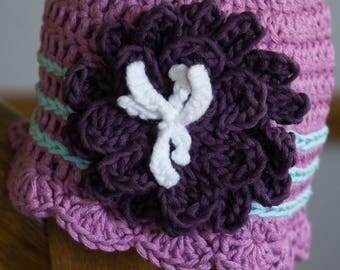 Purple Flower Hat - Newborn || Infant || Baby Girl || Spring Hat || Summer Hat || Pink Hat