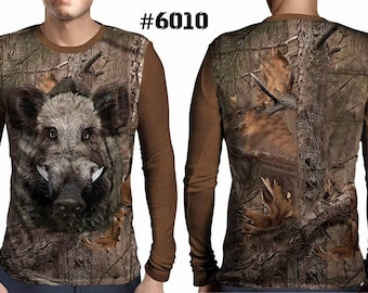 New ultramodern 3D  High Quality  Hunting Boar Mens  Long Sleeve Brown T-shirt
