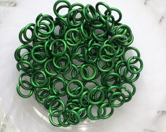 "18g 3/16 ""chainmaille jump ring, green jump ring, DIY chainmaille, green rings, chainmaille supplies, matt green rings, Tessa's chainmail"