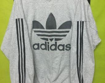 vintage adidas trefoil big logo sweatshirt crewneck made in canada size XL