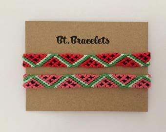 Set of two watermelon bracelets friendshipbracelets 4.00