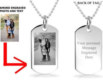 Personalized, Engraved Photo Dog Tag Necklace