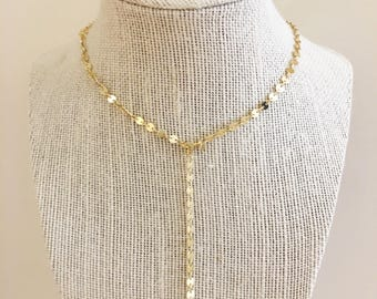 Gold Coin Chain Lariat