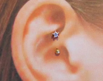 Rose Gold Star Daith Piercing Surgical Steel Barbell..16g..8mm