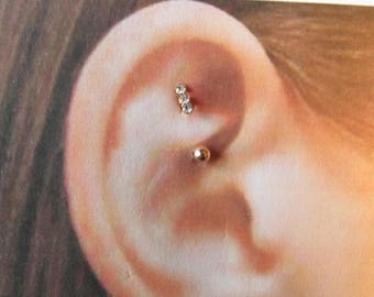 Rose Gold Rook,daith Piercing Triple Cz Curved barbell..16g..8mm