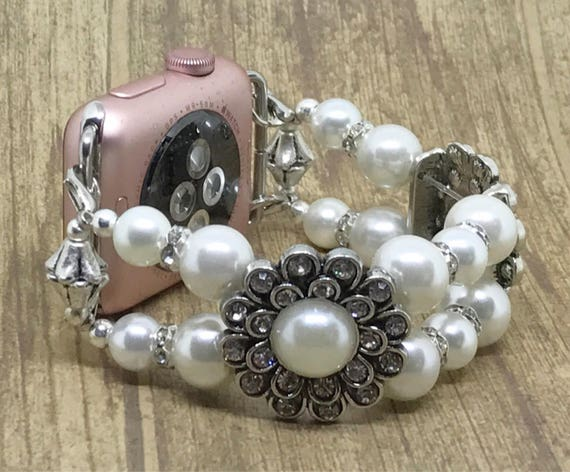 Apple Watch Band, Women Bead Bracelet Watch Band, iWatch Strap, Apple Watch 38mm, Apple Watch 42mm, Faux White Pearl, Silver Metal 6 1/4""