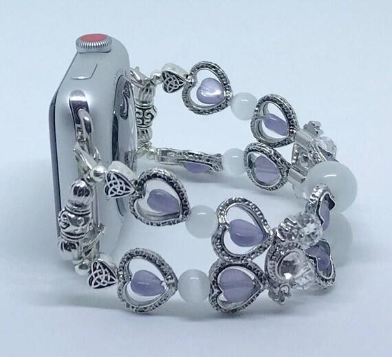 """Apple Watch Band, Women Bead Bracelet Watch Band, iWatch Strap, Apple Watch 38mm, Apple Watch 42mm, Silver Hearts Purple Clear, Size 6 1/2"""""""