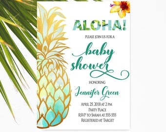 Tropical Baby Shower Invitation Gender Neutral, Pineapple Baby Shower, Instant Download, Hawaiian Baby Shower Invitation, Luau Floral