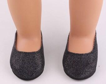 """Black Glitter Slipper Shoes for 18"""" Doll"""