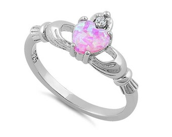 Claddagh Pink Lab Opal CZ Irish Celtic Heart Love Sterling Silver Ring