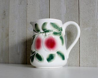 Antique Majolica Pitcher Vase, French Majolica Pottery Pitcher, French Pitcher Water Pitcher Vintage Pitcher French Antiques Digoin Jug D380