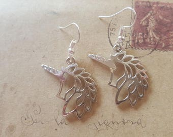 Unicorn Earrings ~ Silver Colors ~