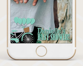 Bicycle Baby Shower Geofilter, mint green bike shower geofilter, custom snapchat geo filter, vintage bike geofilter for baby shower, S28