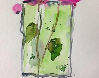 ORIGINAL WATERCOLOR watercolor painting image flowers abstrackt Watercolour watercolor postcard