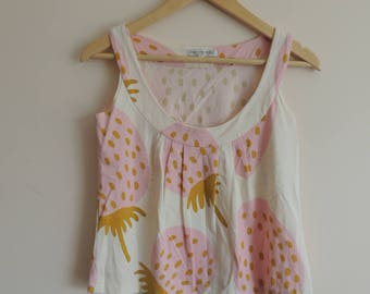 FREE  SHIPPING - Vintage Marimekko ivory, pink and mustard tank top with Strawberry print , size xs