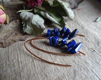 Raw lapis lazuli blue modern simple big long boho hoop earrings oxidized copper organic elegant earrings