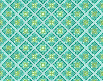 Riley Blake Primavera - Tile Teal Yardage by Patty Young - Sold by the Yard - 100% Cotton