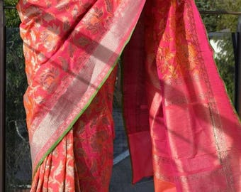 Banarsi silk sarees, designer sarees, Orange with the waft of red, Bale boota zari weaved saree