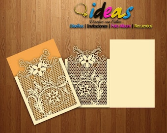 Wedding Invitation Card, Invitation XV years, wedding invitation, laser cut, files (svg, dfx, ai, cdr), lasser cut, cameo