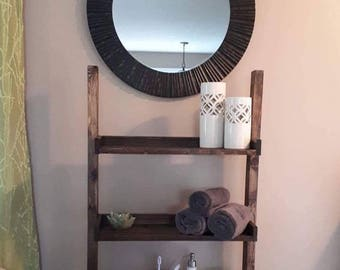 Handmade Rustic Bathroom Shelf, Bathroom Ladder,Bathroom Shelf, Wooden Shelf,Bathroom Storage