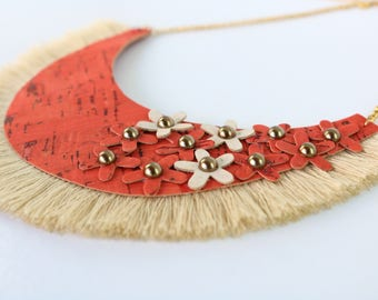 TERRAKOTA SOUL - Cork Necklace, Statement necklace, Modern jewelry, Portuguese jewelry, Eco friendly, Stainless steel, Best friend, Wife
