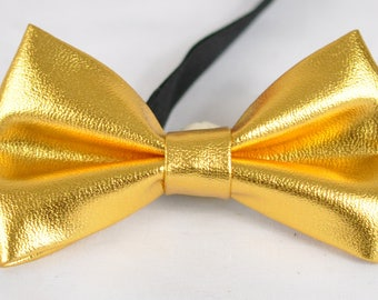 Kids Boy Solid Bright Gold Faux Leather Bowtie Bow Tie 1 to 6 Years Old Wedding Party