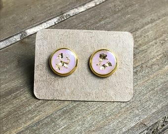 Pink gold flake earrings, pink earrings, pink resin earrings, wedding earrings, gift for her, bridesmaid earrings, pink and gold studs