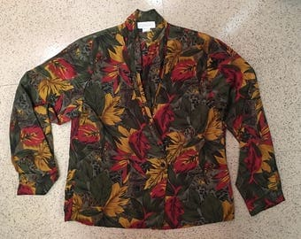 80s Tropical Jungle Blouse with Double-Breast Button Front and Shawl Collar