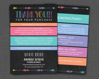 Lularoe Thank You - Lularoe Care Card - Happiness Policy - Lularoe Care Instructions Card - Personalized