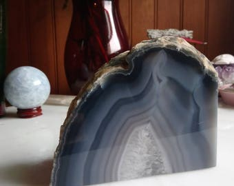 Blue and white agate geode slice book end