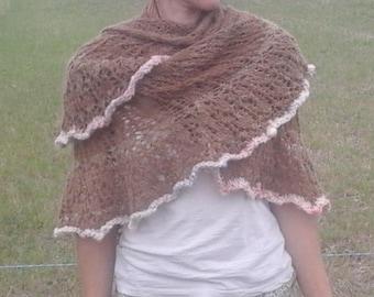 "Shawl ""tikal"" hand knitted alpaca wool spun with spinning wheel"