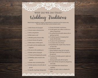 Burlap Lace, Bridal Shower Games, Wedding Traditions, Why do we do that, Wedding Tradition Quiz, Burlap Bridal Shower, Bridal Quiz, J006
