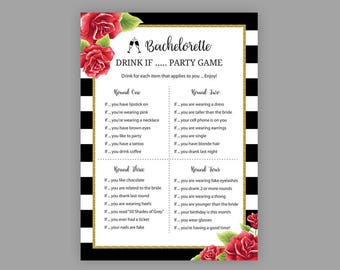 Bachelorette Drink If Game, Black White Stripes, Bridal Shower Games, Hens Party Game, Red Drink If Game, Bachelorette Party Printable, J017