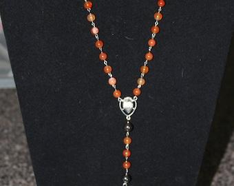 Carnelian and Hematite Rosary