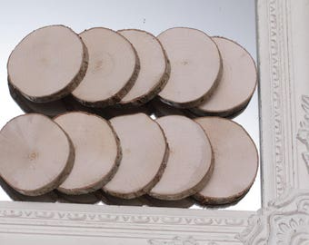 Set Of 10 Slices, DIY Wedding Decor, Wooden Slabs, Wood Circles, Coasters, Craft Slices, Tags Slices, Tree Slices.