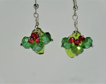 Holly dangle earring, green and red, gift or stocking stuffer for her