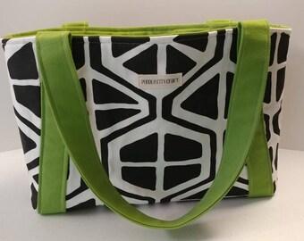 Beach tote, sturdy bag, travel bag, day trip tote, canvas bag, black and white bag, lime green bag, shoulder bag