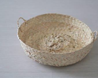 Natural basket, small, straw bag, small, storage basket, palm.