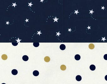 Babynest Co-sleeper *FREE Matching Wipe Clutch* Shooting Stars Navy Blue Gold Polka dot