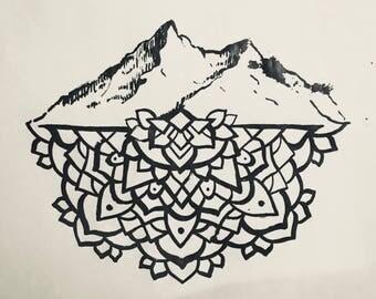 Women's Shirt Mountain Mandala T-Shirt
